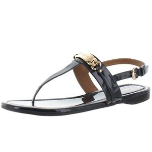 NEW Coach Caterine Black Patent Leather Sandals